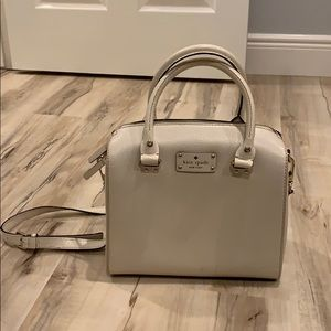 Kate space creme/white block purse